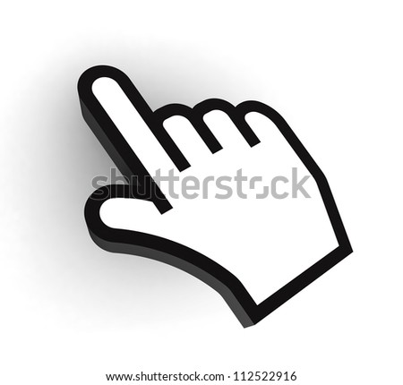 computer pointer hand black and white cursor on white background. clipping path included - stock photo