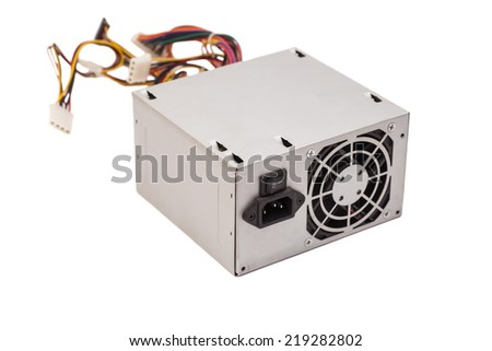 Computer Power Supply On White Background  - stock photo