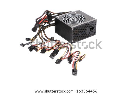 Computer Power Supply Unit. Isolated on a white background. - stock photo