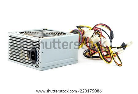computer power supply unit isolated on white - stock photo