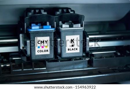 Computer printer ink cartridges  - stock photo