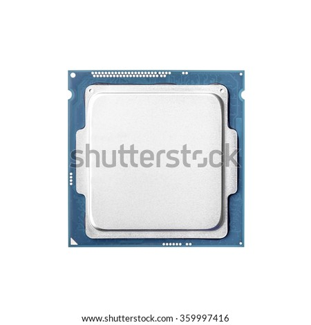 Computer processor - CPU isolated on white background. - stock photo