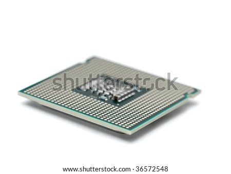 Computer processor isolated on white background, shallow focus near the closer edge - stock photo