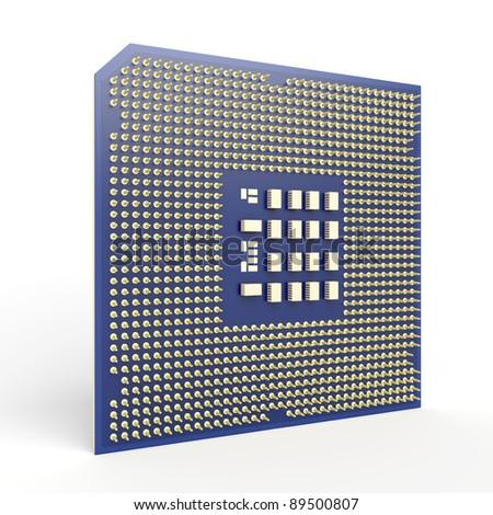 Computer processor on white background - stock photo