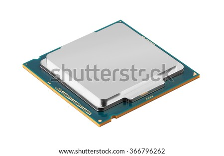 Computer processors CPU isolated on white background - stock photo