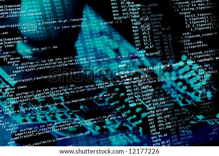Computer programing source code on blue electronics background - stock photo