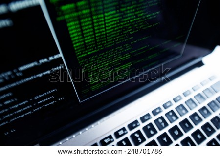 Computer Programming. Programming Using Laptop Computer. Internet Technologies. - stock photo
