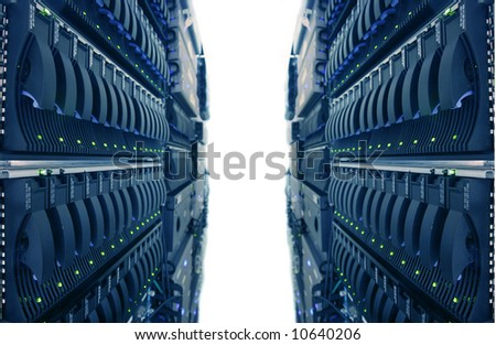 Computer Racks in Internet Data Center - stock photo