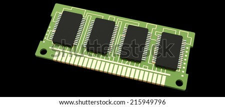 Computer RAM. Memory Card. random access memory. isolated on black background 3d render - stock photo