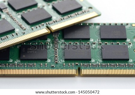 computer RAM memory microchip module - stock photo