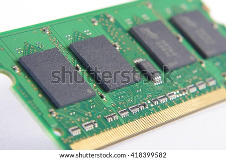 Computer RAM printed circuit board isolated - stock photo