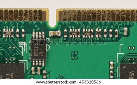 Computer RAM (Random-Access Memory) module, isolated on white background. Closeup details.