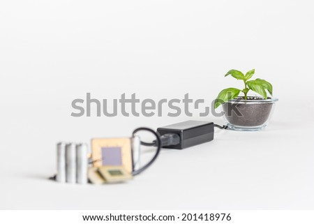 Computer recycling concept with charger pumping 'green' power to newly grown plant. Detailed shot on white background. - stock photo