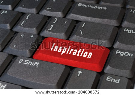 Computer red keyboard button, write the word  inspiration white. - stock photo