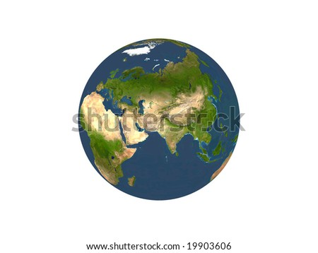 Computer Render Of Earth On White Background With The Middle East Showing