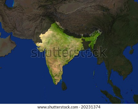 Computer Render Of India Highlighted