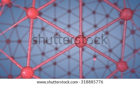 computer rendered illustration of Atom Array Material red Glass