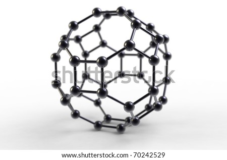 Computer rendering of a C48 fullerene molecule - stock photo