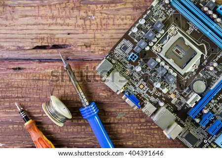 Computer repair concept. Close-up view.Hardware Computer. - stock photo