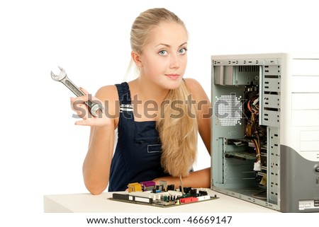 Computer Repair Engineer, blonde girl - stock photo
