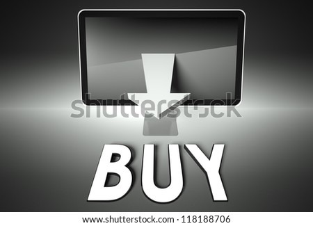 Computer screen and arrow with word Buy, E-commerce concept - stock photo