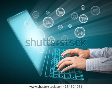 Computer screen and buying online - stock photo