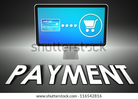 Computer screen and buying online with word Payment, E-commerce concept