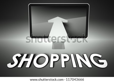 Computer screen and chart arrow with word Shopping, E-commerce concept - stock photo