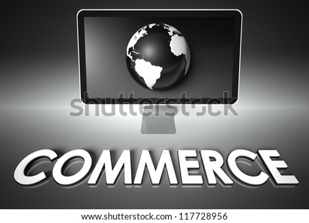Computer screen and globe with word Commerce, E-commerce concept - stock photo
