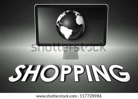 Computer screen and globe with word Shopping, E-commerce concept - stock photo