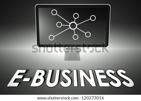 Computer screen and internet sign with word E-business, E-commerce concept - stock photo