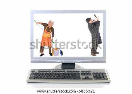 Computer screen and keyboard, detective inspecting for viruses, woman cleaning up.  White background