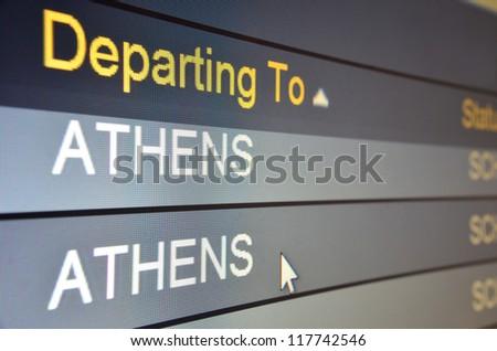 Computer screen closeup of Athens flight status - stock photo