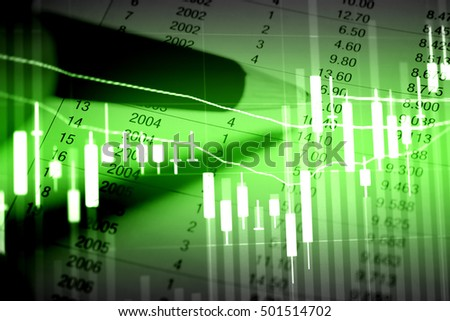 Computer screen displaying a chart for technical analysis of a financial instrument. Business technical analysis as concept.