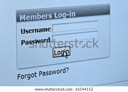 Computer screen with login and password form