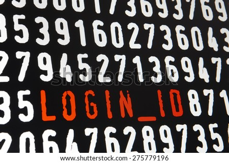 Computer screen with login id text on black background. Horizontal - stock photo