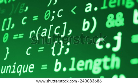 Computer script. Programming code abstract screen of software developer. Digital abstract bits data stream, cyber pattern digital background. Selective focus effect. Green color.  - stock photo