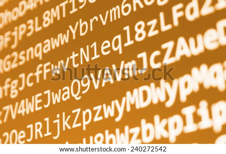 Computer script. Programming code abstract screen of software developer. Digital abstract bits data stream, cyber pattern digital background. Selective focus effect. Orange yellow color.  - stock photo