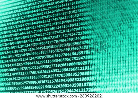 Computer script. Programming code abstract screen of software developer. Digital abstract bits data stream, cyber pattern digital background. Selective focus effect. Blue green cyan color.  - stock photo