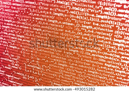 Computer script typing work.  Computer science lesson. Internet security hacker prevention. Digital technology on display. Database bits access stream visualisation.