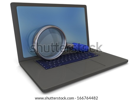 Computer Search - 3D - stock photo