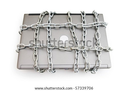 Computer security concept with laptop and chain - stock photo