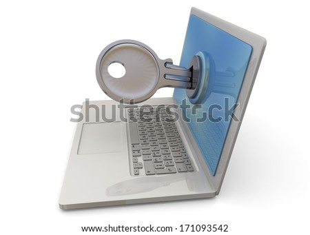 Computer Security - 3D - stock photo