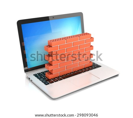 computer security, firewall 3d concept, brick wall protecting laptop