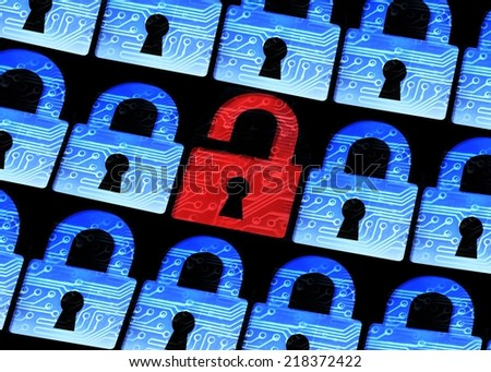 computer security - Hacked symbol of open red padlock  - stock photo