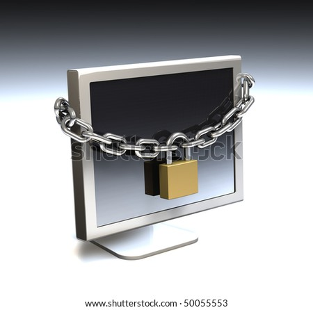 Computer security, locked computer - stock photo