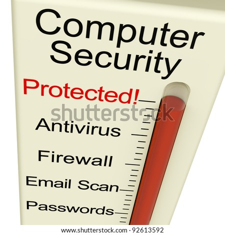 Computer Security Protected Monitor Shows Laptop Interet Safety - stock photo