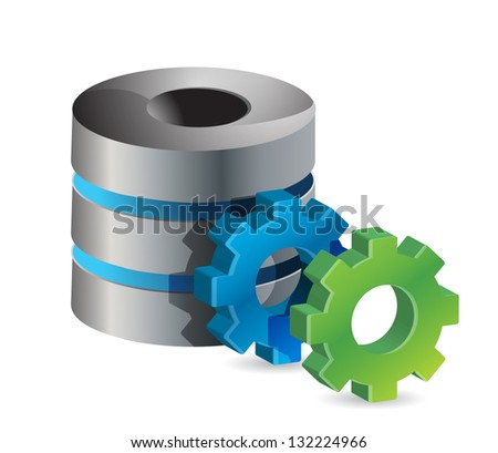 computer server and gears illustration design over white - stock photo