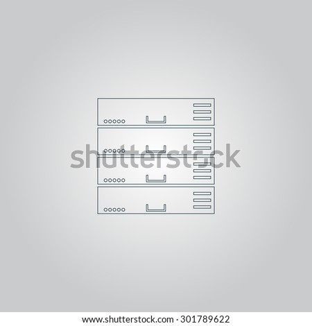 Computer Server. Flat web icon or sign isolated on grey background. Collection modern trend concept design style  illustration symbol - stock photo