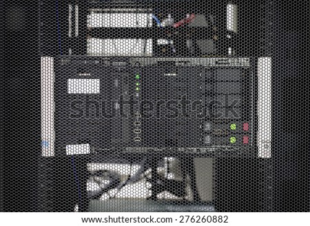 Computer Server in rack server close-up - stock photo